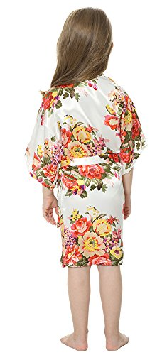 b1a479b5a19 JOYTTON Girl s Satin Floral Kimono Bathrobe Flower Girl Robe (6 ...
