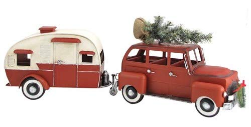 Trailer Camper and Artificial Christmas Tree on Roof (Red) ()