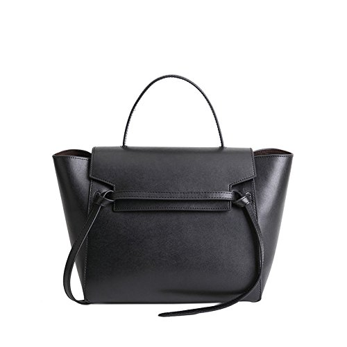 Women's Shoulder Belt Trapeze Black Stylish Viviesta Bag Leather Real Knot Handbag HZ4ZqxU