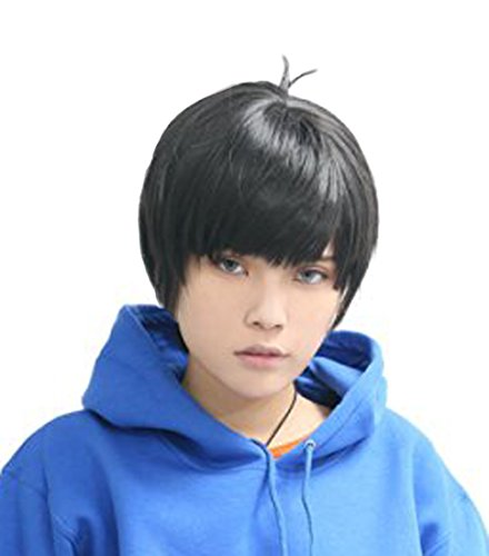 Price comparison product image Anogol Short Black Layered Cosplay Wig Men's Hair Wigs DM-965