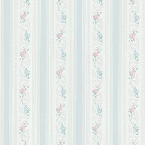 Brewster 979-51105 Mirage Cameo Rose IV Acanthus Floral Stripe Wallpaper, 20.5-Inch by 396-Inch, Blue