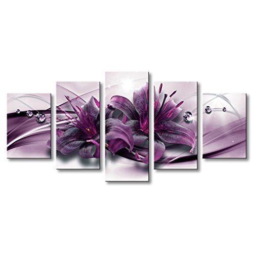Large Purple Lily Flower Canvas Wall Art Modern Print Artwork Floral Painting 60x30 inch (Art Canvas Deco Print)