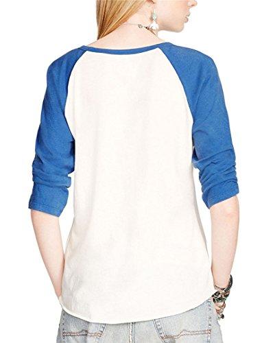 BININBOX® Damen fashionable weiß Retro-Stil Indian Chief Musterdruck T-Shirt