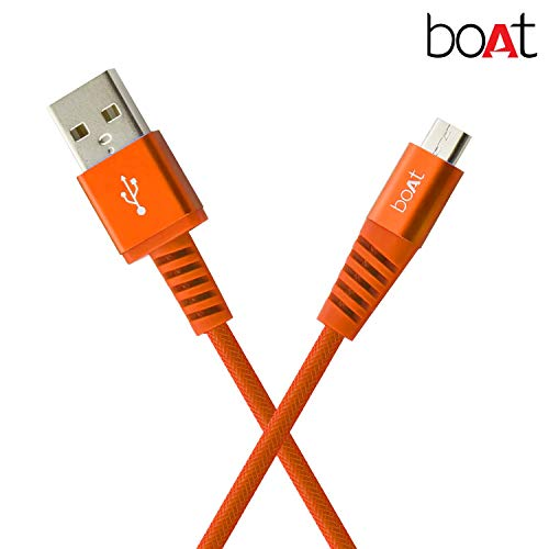 (Renewed) boAt Rugged V3 Braided Micro USB Cable (Molten Orange)