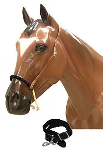 (Showman Braided Nylon Rawhide Leather Horse Barrel Racing Training Noseband Tie Down (Black))