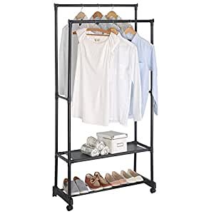 woltu double rail garment rack clothes rack on. Black Bedroom Furniture Sets. Home Design Ideas