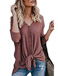 Assivia Womens V Neck Tie Front Knot Tunic Blouse Casual Henley Shirts Tops