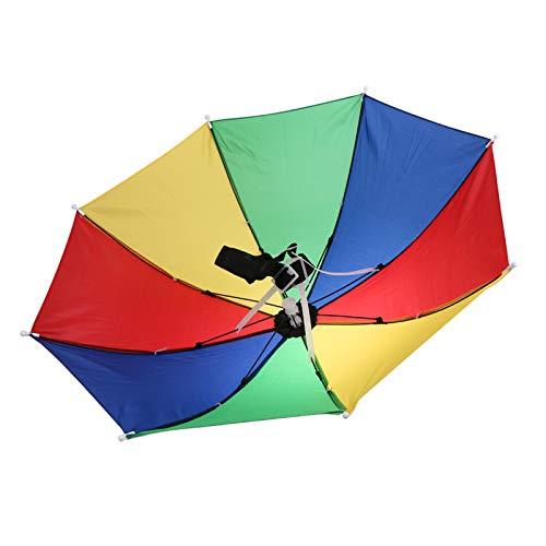 Hosaire 1x Gummizug Kopfschmuck Regenschirm Hat Elastische Kopfbedeckung Angelschirme f/ür Angeln Garten Fotografie Wandern (Bunt)