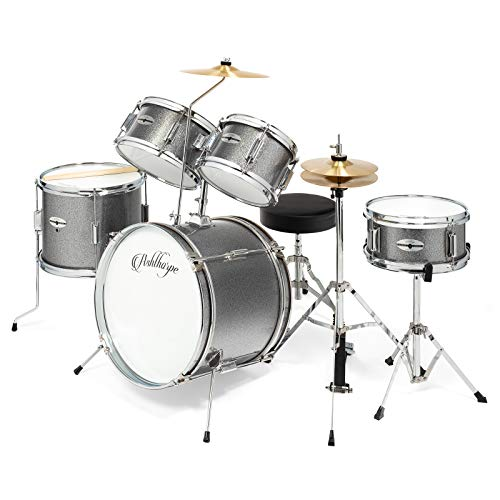 "Ashthorpe 5-Piece Complete Kid's Junior Drum Set with Genuine Brass Cymbals - Children's Advanced Beginner Kit with 16"" Bass, Adjustable Throne, Cymbals, Hi-Hats, Pedals & Drumsticks - Silver"