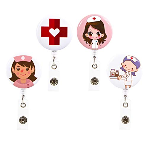 Ascrafter Cute Nurse Retractable Badge Holder Clip, ID Name Card Badge Reel Alligator Clip, 4 Pack