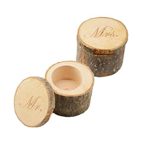 CHUANGLI 2pcs Wedding Ring Box Rustic Wooden Wedding Ring Case Weddings Accessories Mr Mrs Jewelry Boxes by CHUANGLI (Image #4)