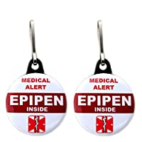 Medical Alert Epipen Inside Bag Tag 2 pcs Zipper Pull Charm for Backpack Bags 1.25""