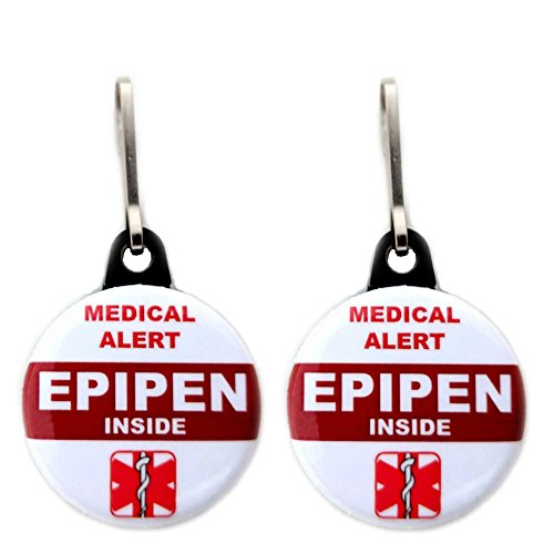 Medical Alert Epipen Inside Bag Tag 2 pcs Zipper Pull Charm for Backpack Bags 1.25