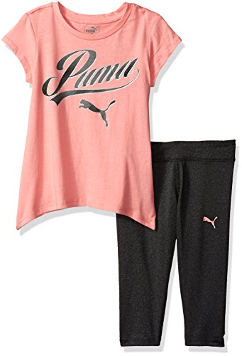 PUMA Toddler Girls' 2 Piece Tee and Capri Set, Soft Fluorescent Peach, 2T by PUMA