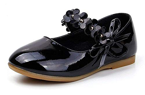 Leather Bke (ZX Boots Toddler Girls Flower Mary Jane Ballet Flats Shoes with Hook and Loop Strap(Toddler/Little Kid)(Black-10 M US Toddler))