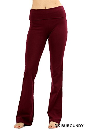 - Zenana Premium Cotton FOLD Over Yoga Flare Pants,Burgundy,Medium