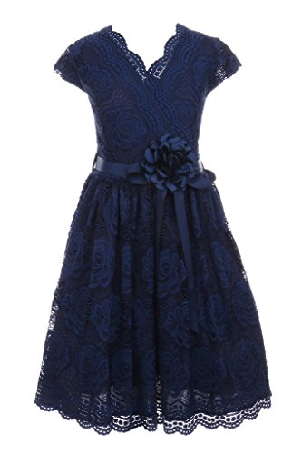 (iGirlDress Big Girls Floral Design Lace Easter/Spring Dress Navy Size 10 )