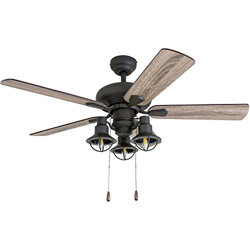 "Prominence Home 50758-01 Piercy Coastal Ceiling Fan (3 Speed Remote) 42"" Barnwood/Tumbleweed, Aged Bronze"