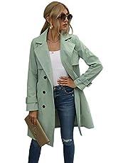 Vrouwen dubbele borst riem trenchcoat klassieke lange mouw revers uitloper midi-lengte overjas - groen - XL
