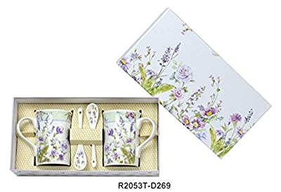 Lightahead Elegant Bone China Two Coffee Tea Mugs with Two Spoons set in Romantic Lavender Flower Design 11.2 oz each cup in attractive gift box
