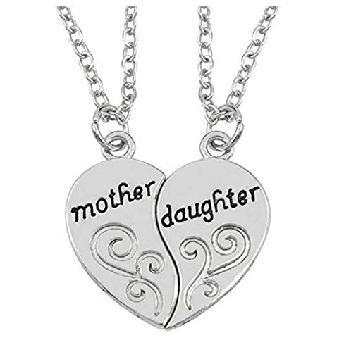 Mother Daughter Adorable Inspirational 2-piece Heart Pendant Necklace Set - 2x20'' Chain - Best Bonding Family Gift