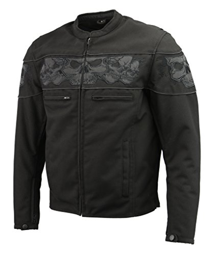 Men's Textile Scooter Jacket w/Removable CE Armor | Reflective Skull Design, Concealed Gun Pockets, Vented & Zip Out Liner | Skull Biker Jacket (Black, XL)
