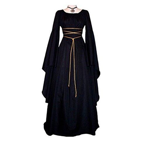 Black Renaissance Gown Costumes (Women Medieval Renaissance Retro Gown Cosplay Costume Dress Floor Length Gown Long Dress (L))
