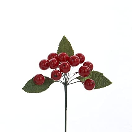 Amazon.com: Christmas Flower Floral Single Small Red Berry Cluster ...