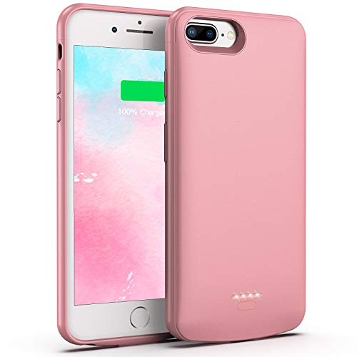 Battery Case for iPhone 8 Plus/7 Plus, 5500mAh Slim Portable Charger Case Extend 150% Battery Life, Protective Backup Charging Case Compatible with iPhone 8 Plus/7 Plus (Rose Gold) (Iphone 5 Battery Case Pink)
