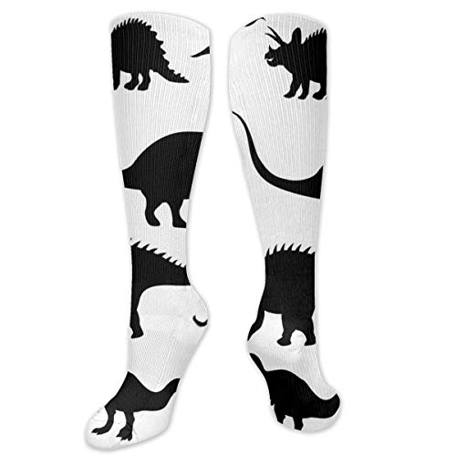 Compression Socks,Various Black Dino Silhouettes Jurassic Evolution Extinction Predator Animals -