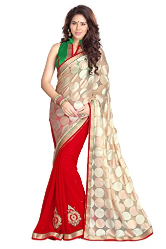 Faux Georgette (Sourbh Mirchi Fashion Beige and Red Faux Georgette and Brasso Half Half Styled Saree)