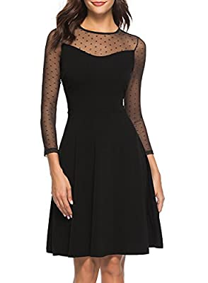 Berydress Women's Vintage 3/4 Sleeve Mesh Illusion Top Patchwork Flare A-line Short Cocktail Party Dress