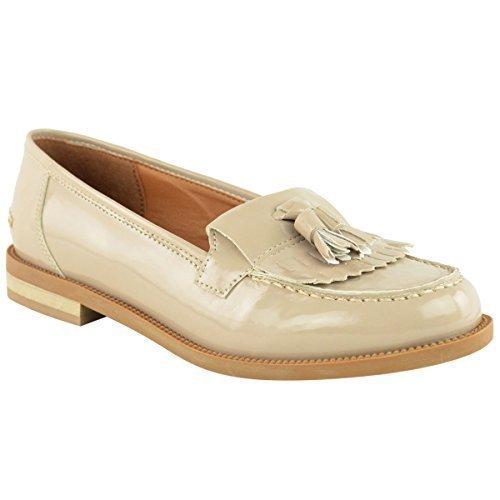 Mocassins Pompon Millésime Femmes Chaussures Plates Chaussures Oxford Taille De Bureau De L'école - Cuir Bordeaux Verni Suède, 38