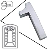 "Magicdo 2-3/4"" Mailbox Numbers, Self-Stick Solid Metal Silver Number, Floating Appearance 3D Number Easy to Install (2 Pcs/Set) (Number 1)"