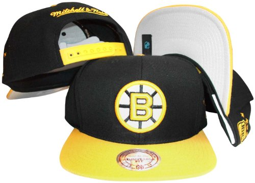 Boston Bruins Black/Gold Two Tone Snapback Adjustable Plastic Snap Back Hat / Cap ()