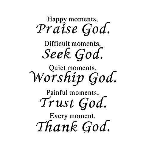 Wall Vinyl Decal Quote Sign Christian Praise God DIY Art Sticker Home Wall Decor ()