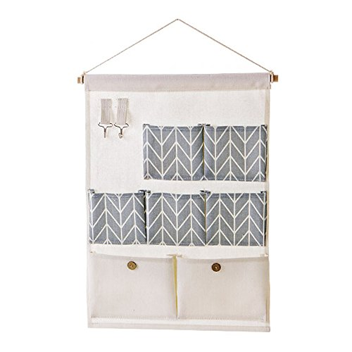 PHNAM Over the Door Organizer Multilayer Linen Cotton Wall Hanging Closet Storage Bag with Hook (Over Stationary)