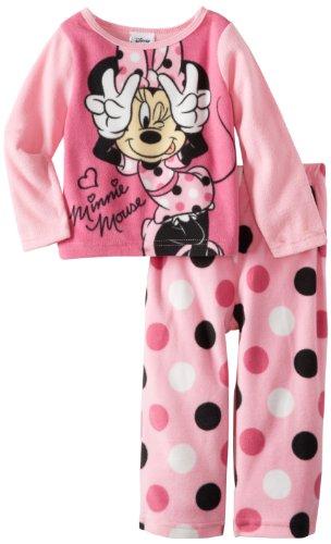 Minnie Mouse Little Girls' Minne 2 Piece Fleece Pajama Set, Multi, 2T