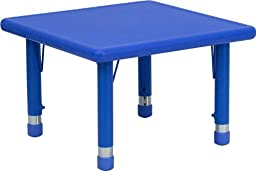 Flash Furniture YU-YCX-002-2-SQR-TBL-BLUE-GG 24-Inch Square Height Adjustable Blue Plastic Activity Table
