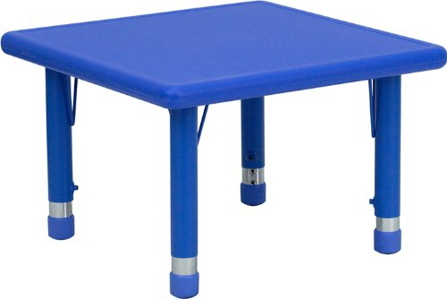 Flash Furniture 24'' Square Blue Plastic Height Adjustable Activity Table