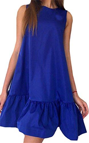 Sleeveless Dark Domple Dress Line Swing Sundress Casual Solid Blue Womens Shift Tank A ZAAqC