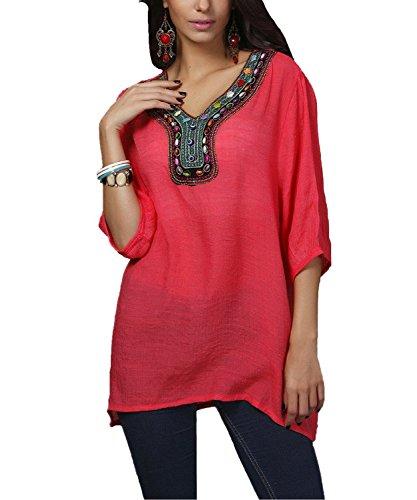 Kafeimali Women's Bohemian Embroidered Loose Tops Semi Sheer Shirt Mini Dress (Red)