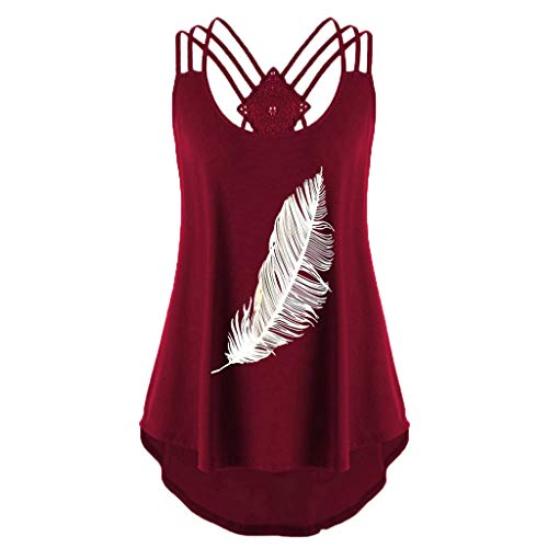 Sunhusing Summer Ladies Feather Printed Sleeveless Tank Tops Back Cross Bandage Strappy Lace Up Vest Blouse Wine