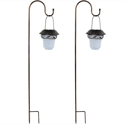 - Sunnydaze Outdoor Solar Lantern Light, Hanging Decorative Garden and Path Lights, with Shepherd Hooks (Set of 2)