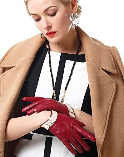 Mittens Winered Winter Waterproof Fashion Bowknot Donna Warm 1 Da Pelle Outdoor Guanti Accogliente In g0n6qZw7xx
