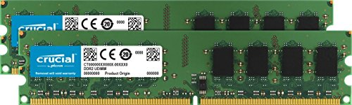 - Crucial CT2CP12864AA800 2GB (1GBx2) 240-pin DIMM DDR2 PC2-6400 Memory Module