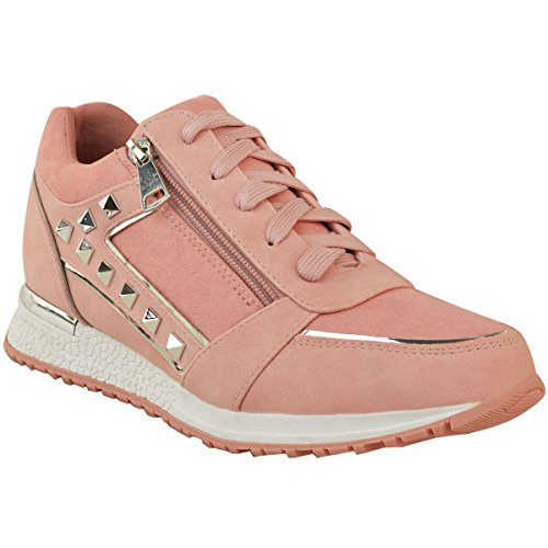 Fashion Thirsty Womens Stud Rock Sneakers Casual Wear Gym Sport Shoes Size Pastel Pink Faux Leather / Faux Suede G8Vje24l