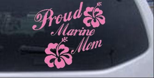 Pink 6in X 6.5in -- Proud Marine Mom Hibiscus Flowers Military Car Window Wall Laptop Decal Sticker