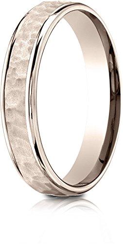 Benchmark 14k Rose Gold Comfort Fit 4mm High Polish Edge Hammered Center Design Band, (Size 7.5) ()