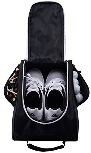 Athletico Golf Shoe Bag - Zippered Shoe Carrier Bags with Ventilation & Outside Pocket for Socks, Tees, etc. Perfect Storage (Black) by Athletico